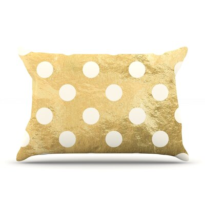Golden Dots Pillow Case Color: White