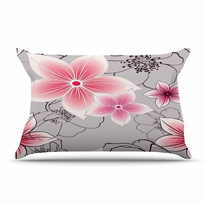 Alison Coxon Floral Pillow Case Color: Pink/Gray