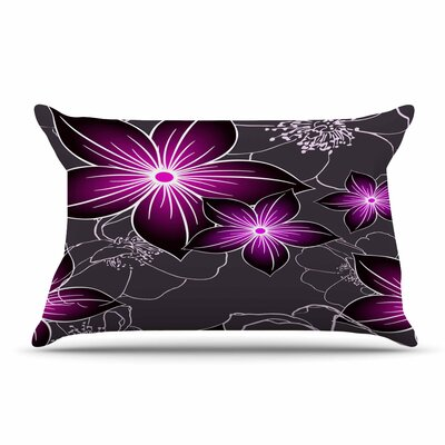 Alison Coxon Floral Pillow Case Color: Purple/Charcoal