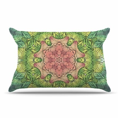 Art Love Passion Celtic Golden Flower Geometric Pillow Case Color: Pink/Green