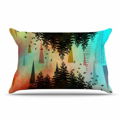 alyZen Moonshadow Aa Above, S0 Below Pillow Case Color: Orange/Teal