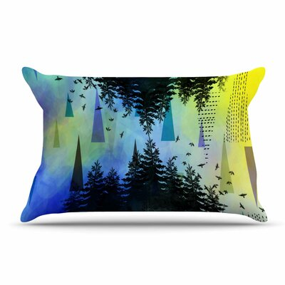 alyZen Moonshadow Aa Above, S0 Below Pillow Case Color: Blue/Yellow