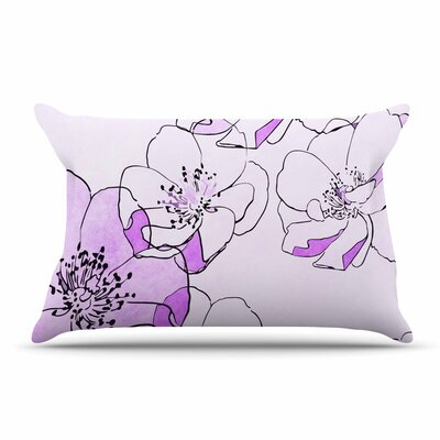 Alison Coxon Painted Wild Roses Floral Pillow Case Color: Pink/Purple