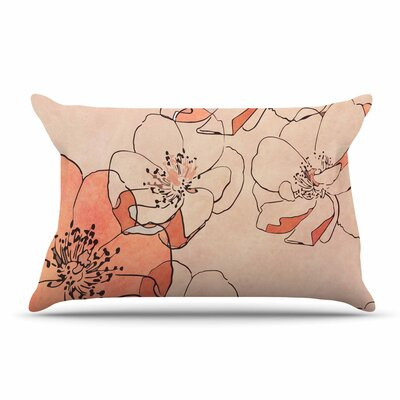 Alison Coxon Painted Wild Roses Floral Pillow Case Color: Orange/Beige