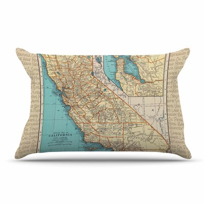 Catherine Holcombe So Cal Surf Map Pillow Case