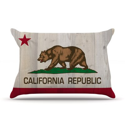 Bruce Stanfield California Flag Wood Pillow Case