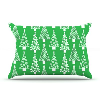 Emine Ortega Jolly Trees Royal Pillow Case Color: Green