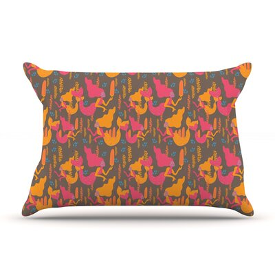 Akwaflorell Mermaids Pillow Case Color: Pink/Orange