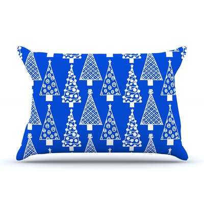 Emine Ortega Jolly Trees Royal Pillow Case Color: Blue