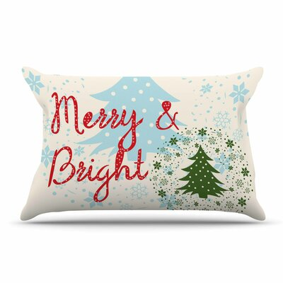 Famenxt Merry And Bright Holiday Typography Pillow Case