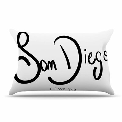 Gabriela Fuente San Diego I Love You Travel Typography Pillow Case