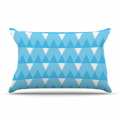 Jackie Rose Yellow Triangles Custard Pillow Case Color: Cyan/Blue