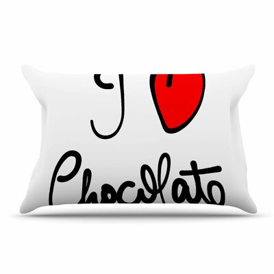 Gabriela Fuente I Love Chocolate Food Typography Pillow Case