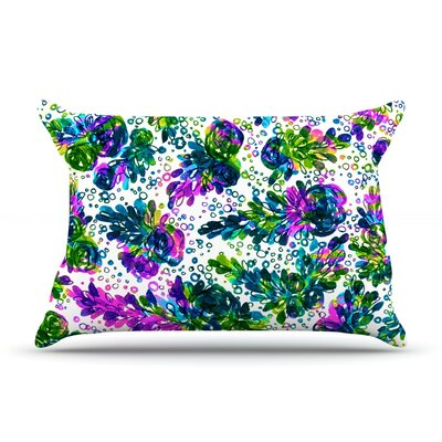 Ebi Emporium Prismatic Posy Ii Rainbow Floral Pillow Case Color: Purple/Green