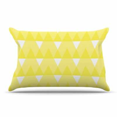 Jackie Rose Yellow Triangles Custard Pillow Case Color: Yellow/White