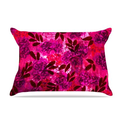 Ebi Emporium Grunge Flowers Ii Floral Pillow Case Color: Pink/Red