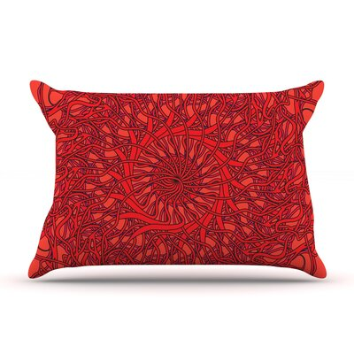 Patternmuse Mandala Spin Pillow Case Color: Red