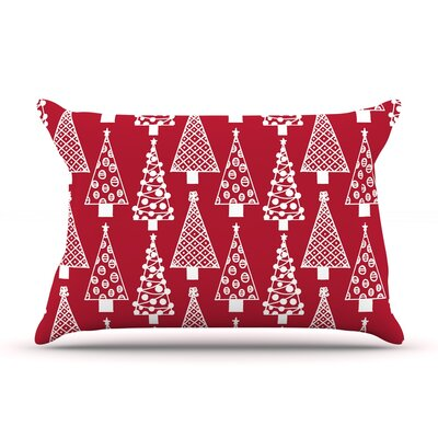 Emine Ortega Jolly Trees Royal Pillow Case Color: Red