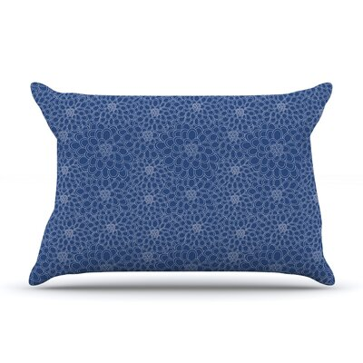 Julia Grifol Flowers Pillow Case Color: Navy Blue