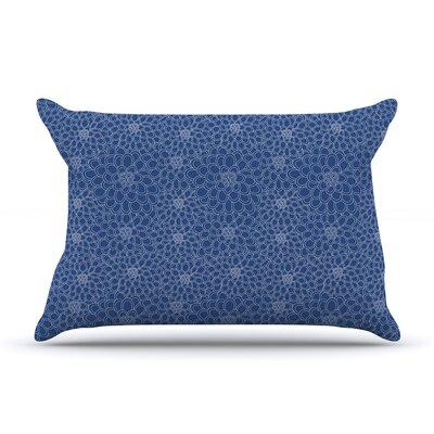Julia Grifol Flowers Pillow Case Color: Navy Blue