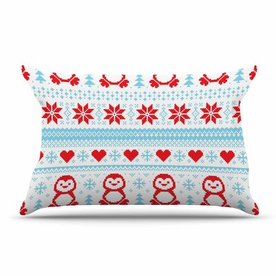 Pixel Penguin Holiday Christmas Pillow Case