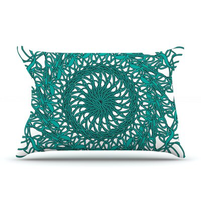 Patternmuse Mandala Spin Pillow Case Color: Green