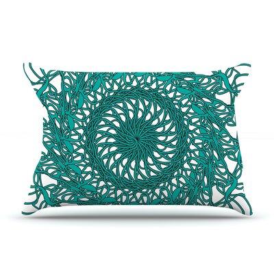 Patternmuse Mandala Spin Pillow Case Color: Green