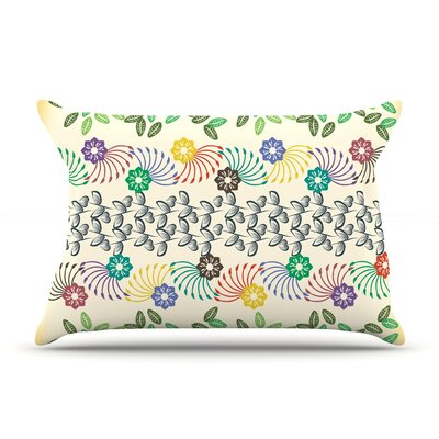 Famenxt Flowers & Leaves Abstract Geometric Pillow Case