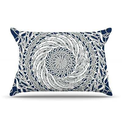 Patternmuse Mandala Spin Pillow Case Color: White/Blue