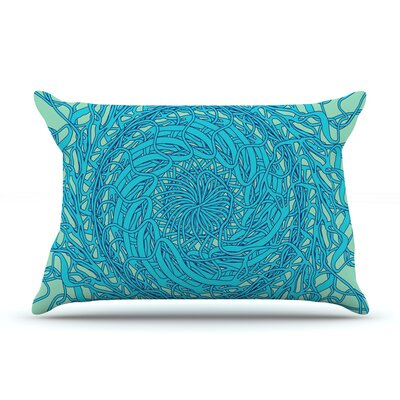 Patternmuse Mandala Spin Pillow Case Color: Blue/Green