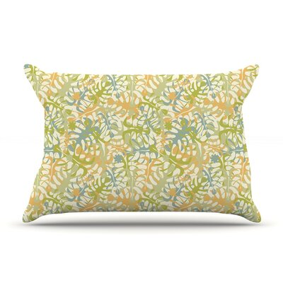 Julia Grifol Warm Tropical Leaves Pillow Case