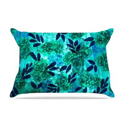 Ebi Emporium Grunge Flowers Ii Floral Pillow Case Color: Teal