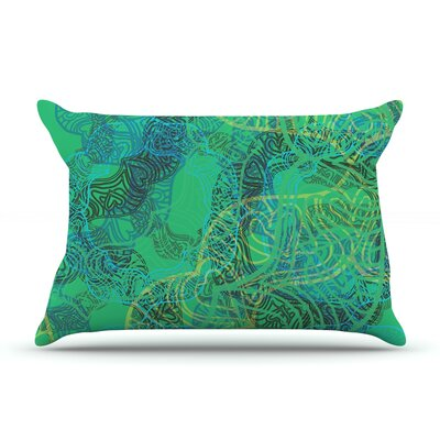 Patternmuse Mandala Lemon Pillow Case Color: Green