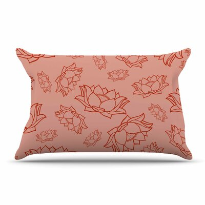 Lotus Coral Floral Pillow Case