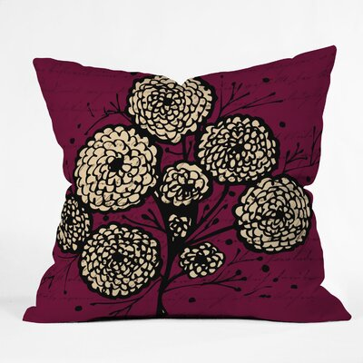 Letters and Flowers Throw Pillow Size: 16 H x 16 W x 4 D