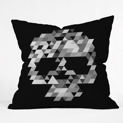 Skull Bw Throw Pillow Size: 16 H x 16 W x 4 D, Color: Black