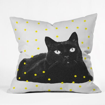 A Black Cat Throw Pillow Size: 26 H x 26 W x 7 D