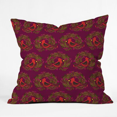 Cardinal Wreaths Indoor/Outdoor Throw Pillow