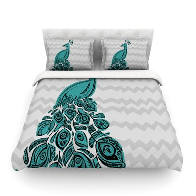 Peacock by Brienne Jepkema Featherweight Duvet Cover Color: Blue, Size: Full/Queen