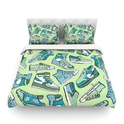 Sneaker Lover by Brienne Jepkema Featherweight Duvet Cover Size: Twin, Color: Blue/Green