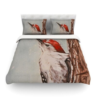 Downy Woodpecker by Brittany Guarino Featherweight Duvet Cover Size: Full/Queen