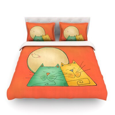 2 Gatos Romance by Carina Povarchik Featherweight Duvet Cover Size: Twin