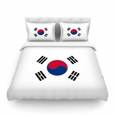 Flag of Korea by Bruce Stanfield Featherweight Duvet Cover Size: Twin
