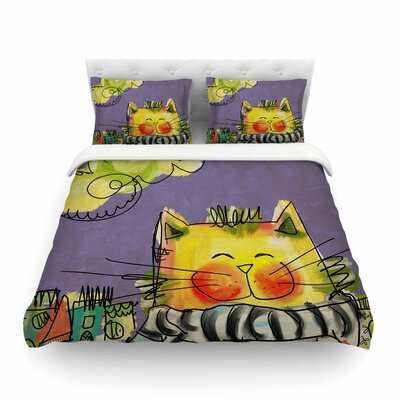 Urban Cat with Scarf by Carina Povarchik Featherweight Duvet Cover Size: King