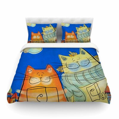Happy Cats in the City by Carina Povarchik Featherweight Duvet Cover Size: Full/Queen