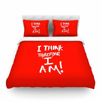 I Think, Therefore I Am Typography by Bruce Stanfield Featherweight Duvet Cover Size: Full/Queen, Color: Red/White