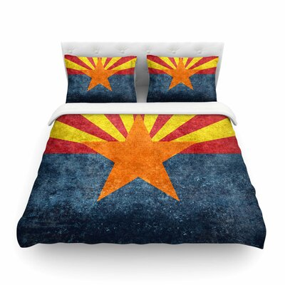 Arizona State Flag Retro Style by Bruce Stanfield Featherweight Duvet Cover Size: Full/Queen