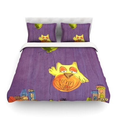 Owl Balloon by Carina Povarchik Featherweight Duvet Cover Size: Twin