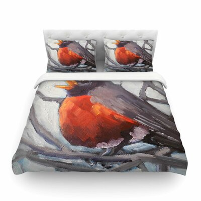Winter Robin by Carol Schiff Featherweight Duvet Cover Size: Twin