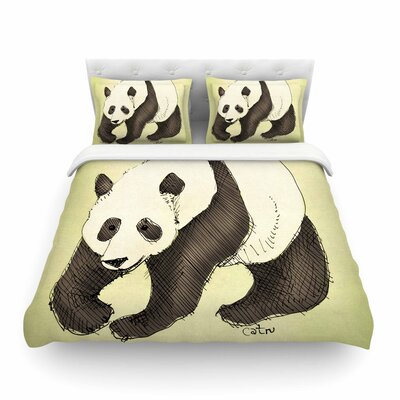 Happy Panda by Carina Povarchik Featherweight Duvet Cover Size: Twin